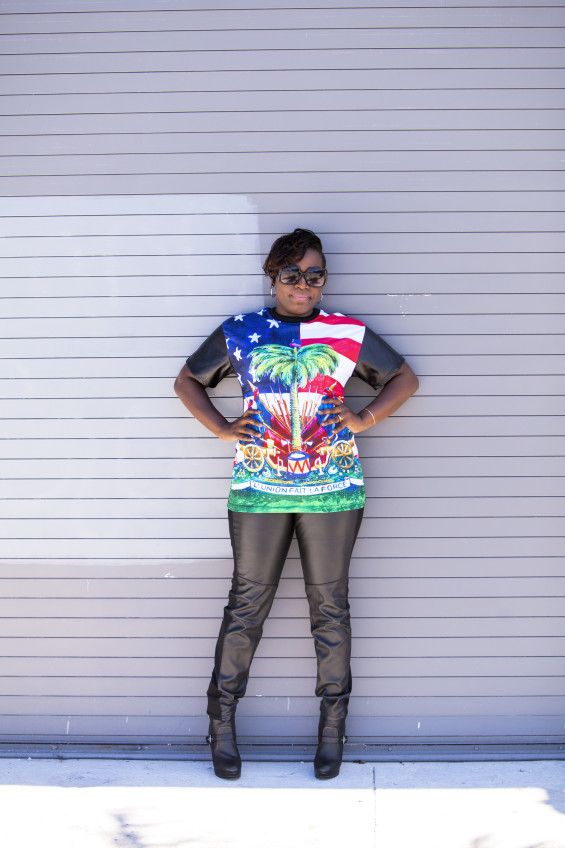 My Style Haitian T Shirt W Leather Sleeves Leather Pants